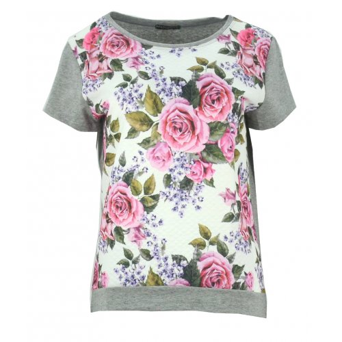 Bluzka w róże (jasno szara)
