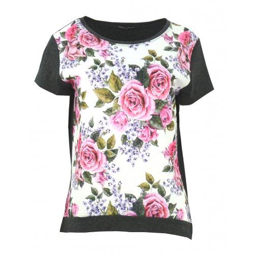 Bluzka w róże (ciemno szara)