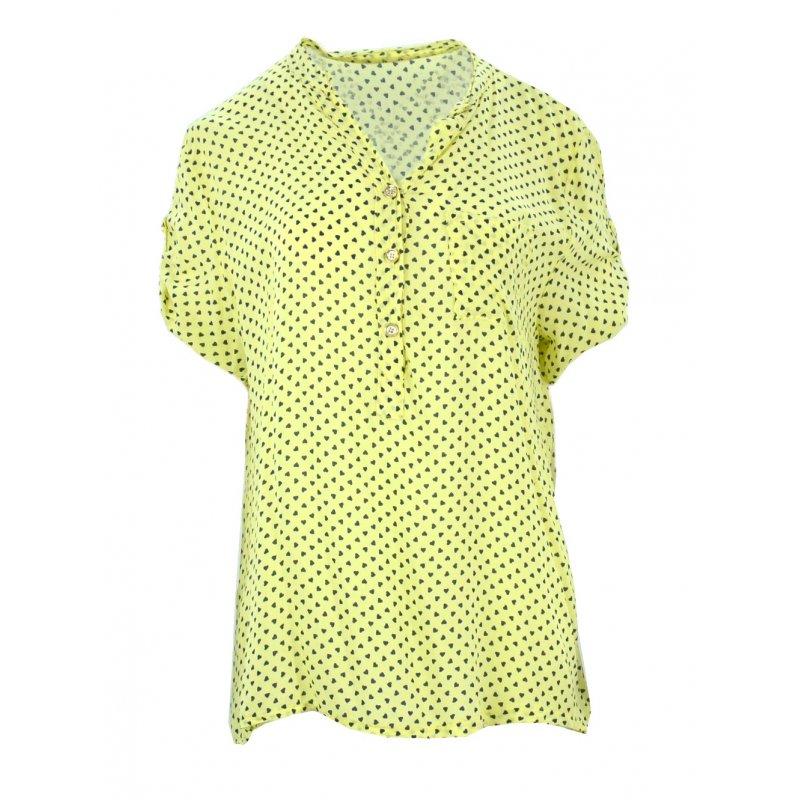 Luźna bluzka w serca (żółta)