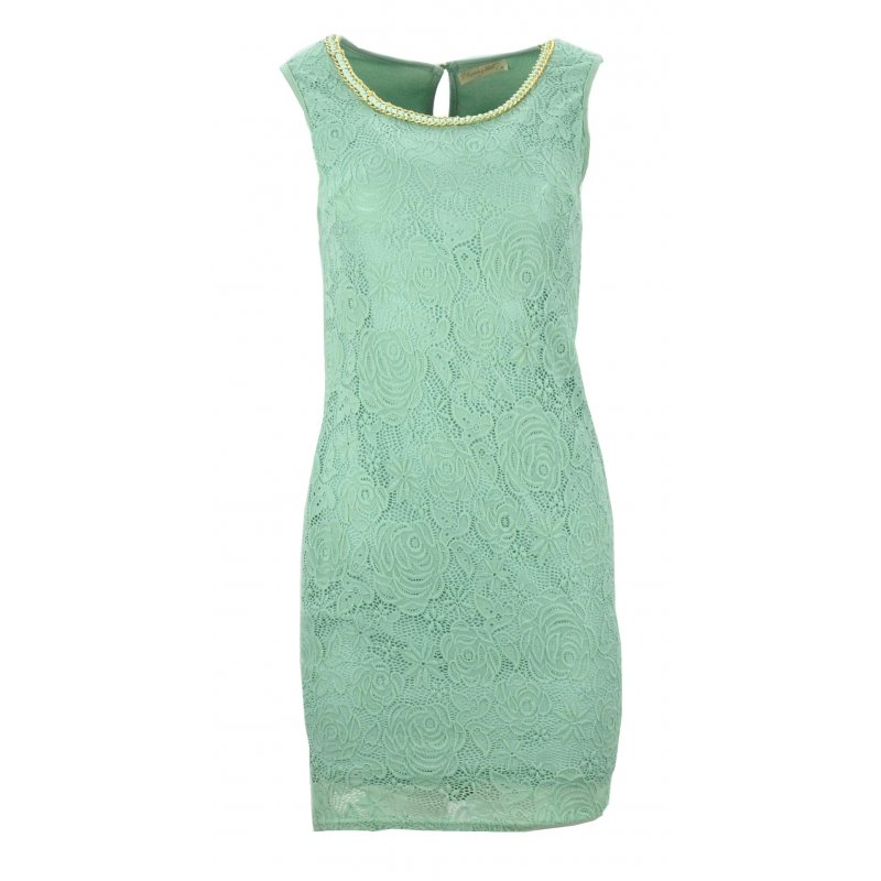 Sukienka z ozdobnym dekoltem (pistacjowa)