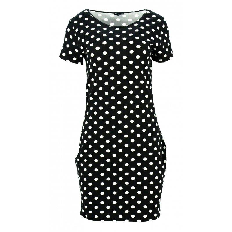 Sukienka w grochy z kieszeniami (czarna w białe grochy)