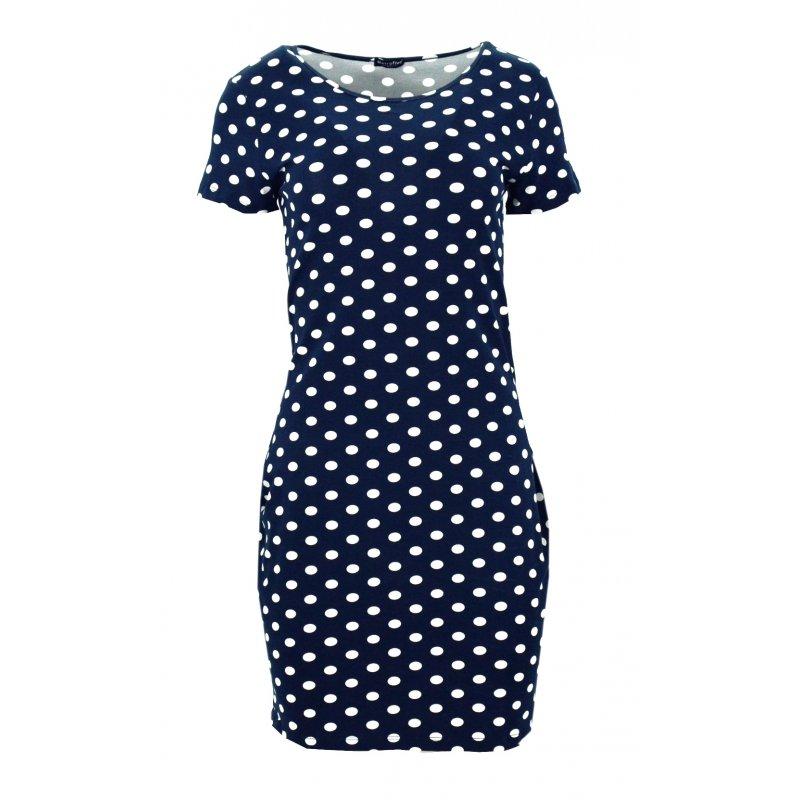 Sukienka w grochy z kieszeniami (granatowa w białe grochy)