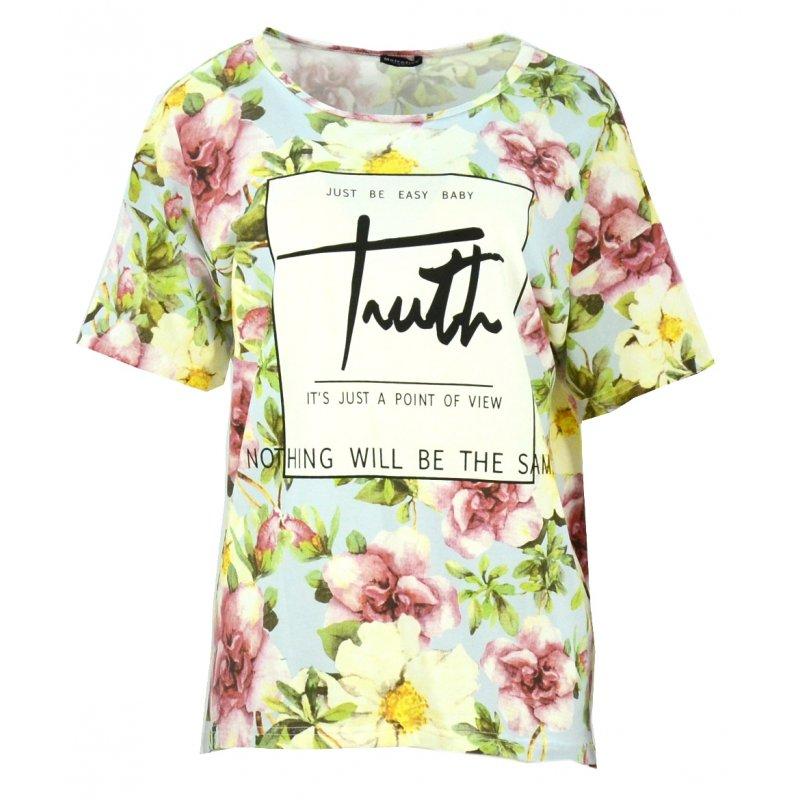 Bluzka w kwiaty z napisem