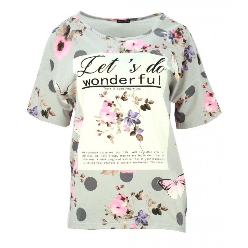 Bluzka oversize w kwiaty z napisem