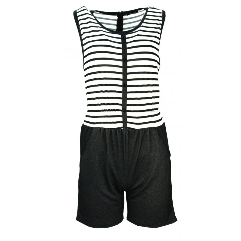 Kombinezon w marynarskim stylu (biały+czarny)