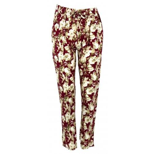 Spodnie alladynki w kwiaty (bordo)