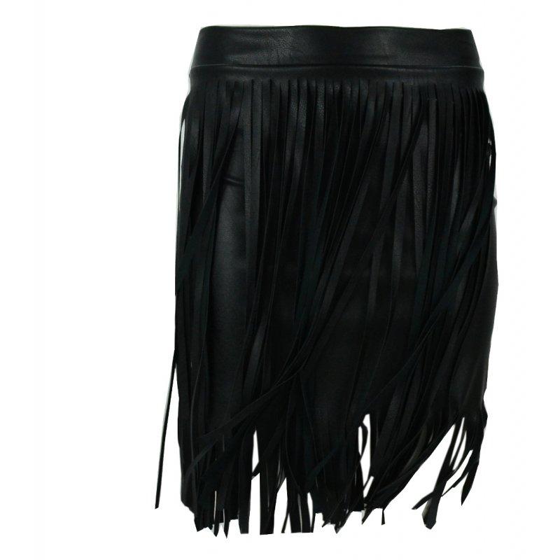 Spódnica z frędzlami z ekoskóry (czarna)