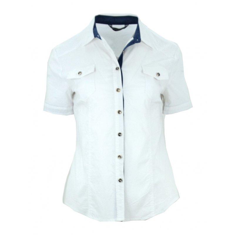 Biała koszula z granatowymi wstawkami