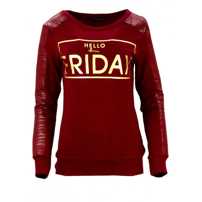 Bluza swetrowa z napisem HELLO FRIDAY (bordowa)