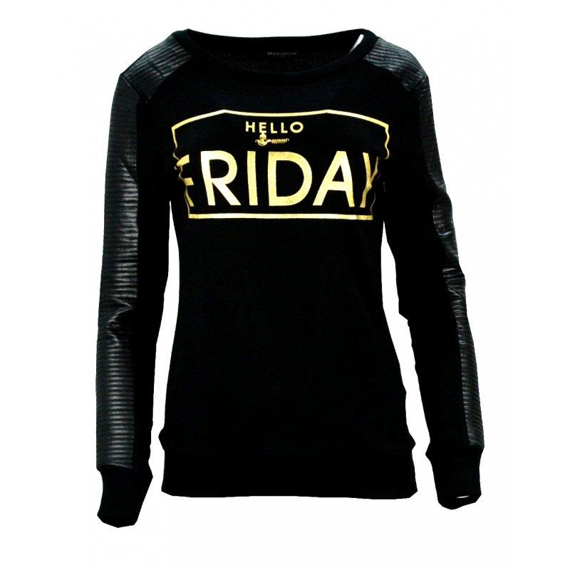 Bluza swetrowa z napisem HELLO FRIDAY (czarna)