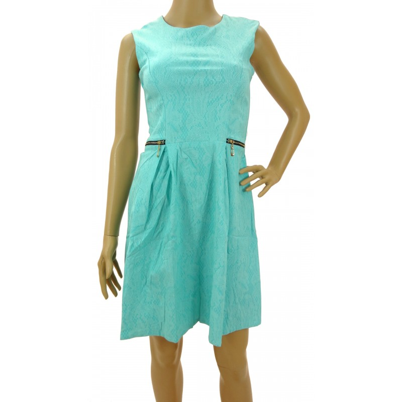 Sukienka z zamkami (turkusowa)