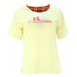 Piżama damska z napisami i spodniami w kratę (żółta)