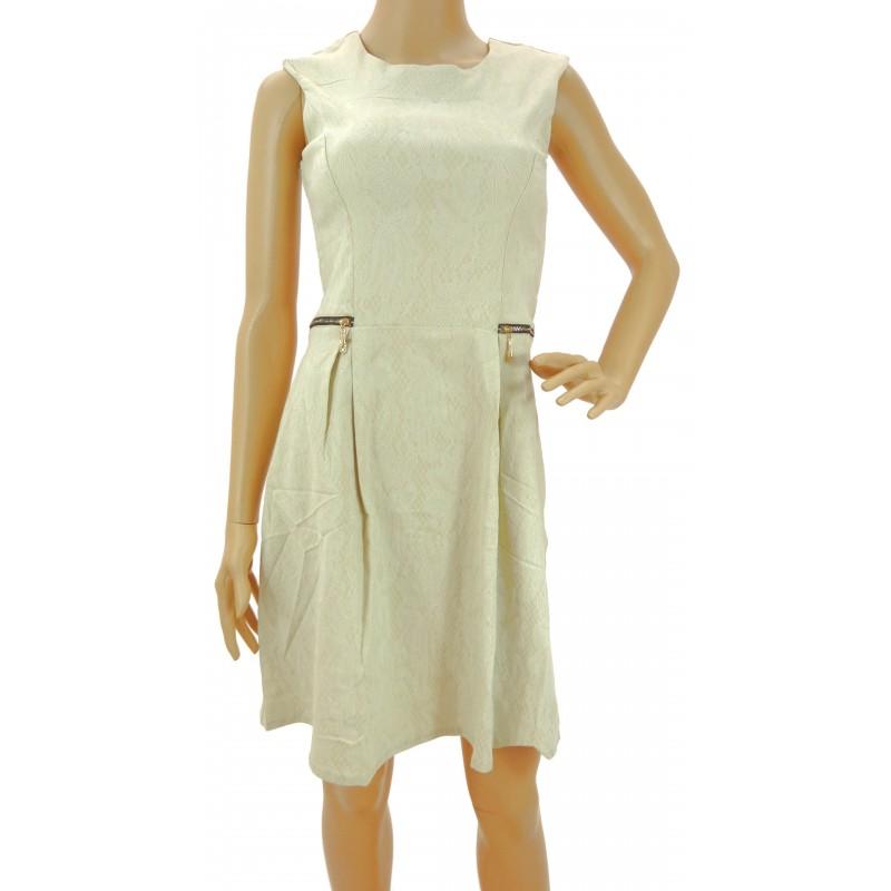 Sukienka z zamkami (beżowa)