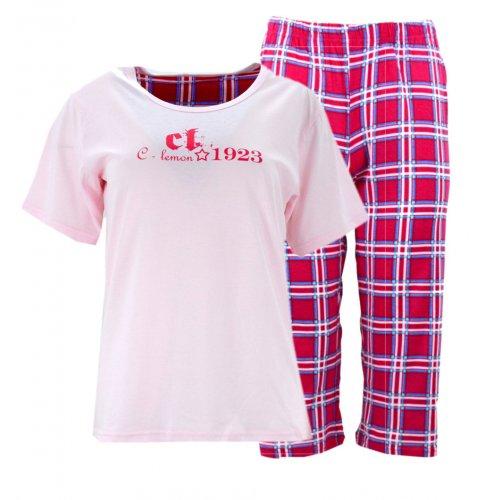 Piżama damska z napisami i spodniami w kratę (różowa)