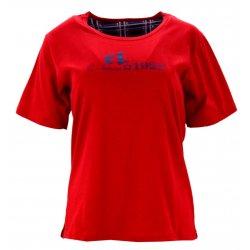 Piżama damska z napisami i spodniami w kratę (czerwona)
