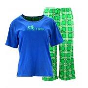 Piżama damska z napisami i spodniami w kratę (niebieska)