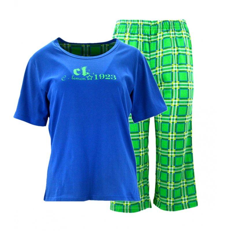 Piżama damska z napisami i spodniami w kratę Niebieska Piżama Damska w Kratę Piżama Damska 2 Częściowa