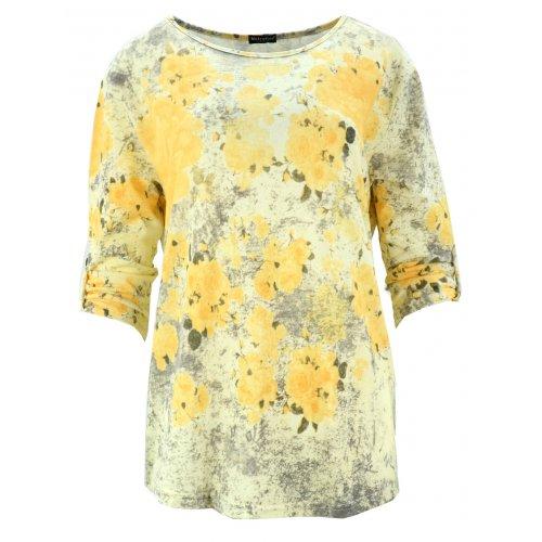 Bluzka swetrowa w kwiaty (żółta)