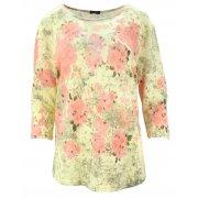 Bluzka swetrowa w kwiaty (koralowa)