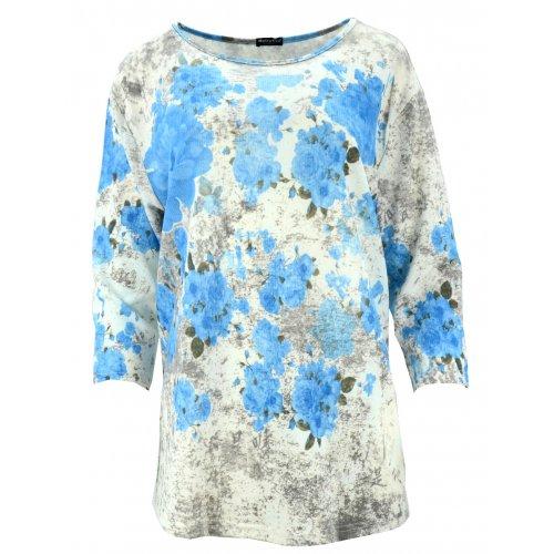 Bluzka swetrowa w kwiaty (niebieska)