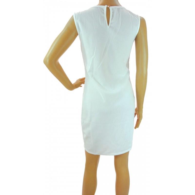 Sukienka z ozdobnym dekoltem (biała)