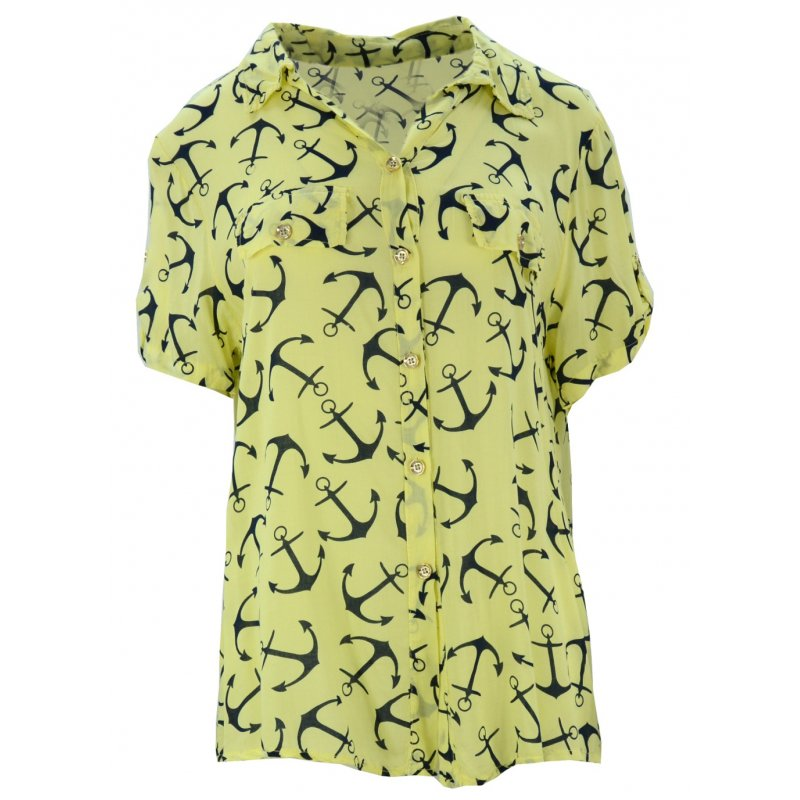 Luźna bluzka w kotwice (żółta)