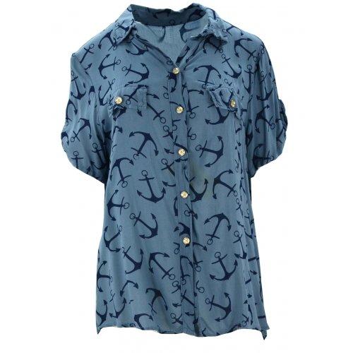 Luźna bluzka w kotwice (niebieska)