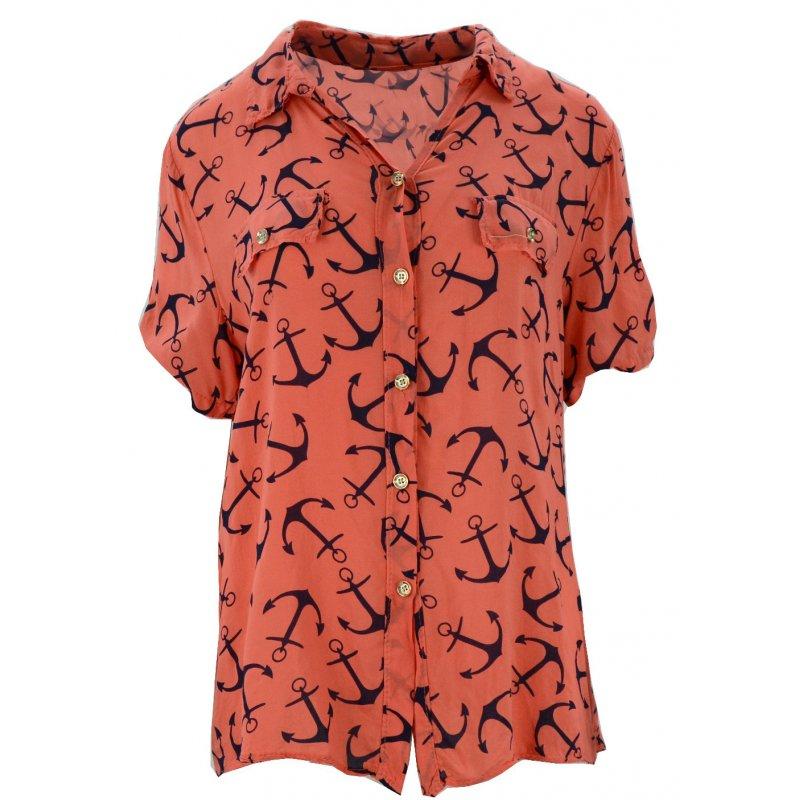 Luźna bluzka w kotwice (koralowa)