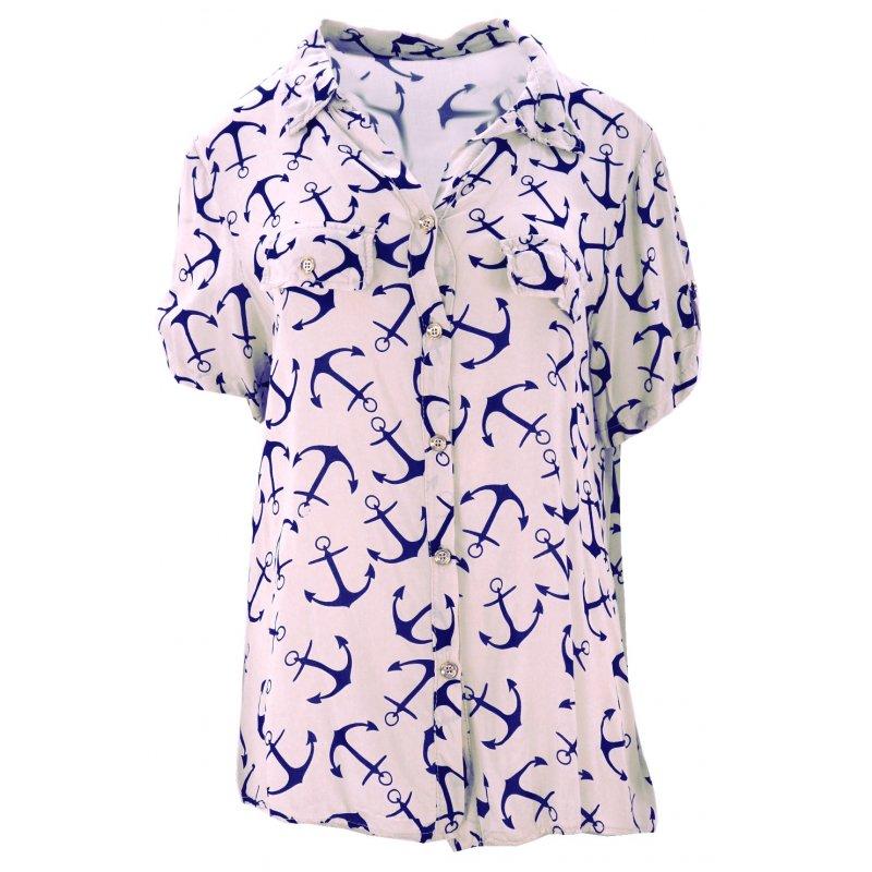 Luźna bluzka w kotwice (różowa)