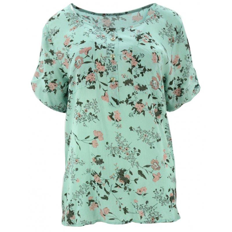 Luźna bluzka w kwiaty (miętowa)