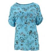 Luźna bluzka w kwiaty (jasno niebieska)