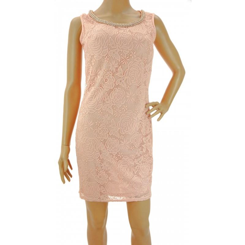 Sukienka z ozdobnym dekoltem (brzoskwiniowa)
