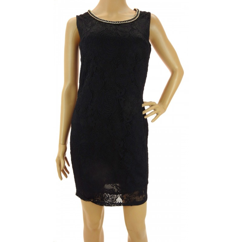 Sukienka z ozdobnym dekoltem (czarna)