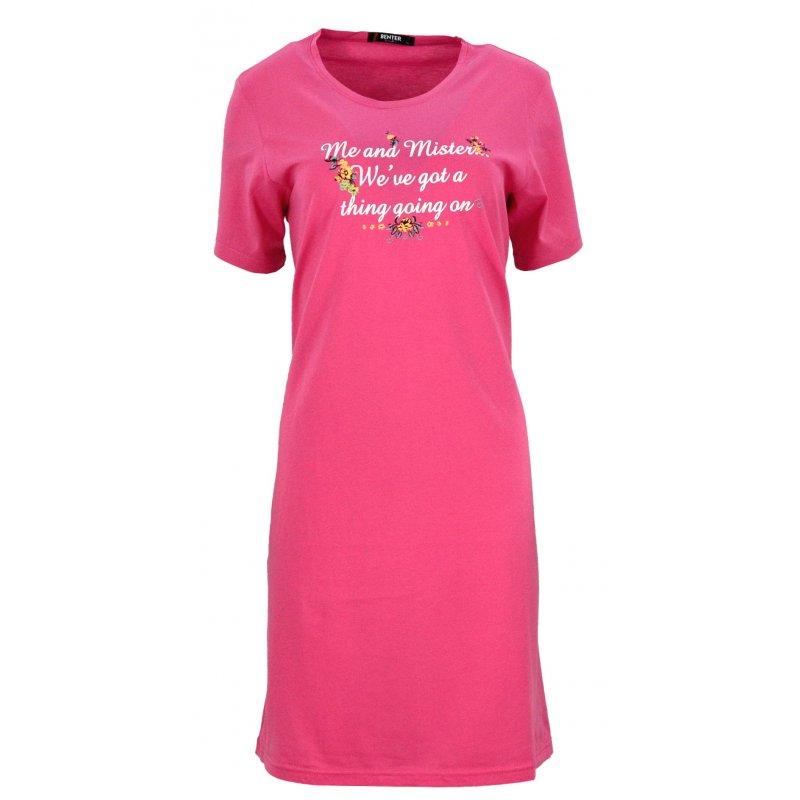 Koszula nocna z błyszczącymi napisami (różowa)