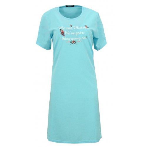 Koszula nocna z błyszczącymi napisami (niebieska)
