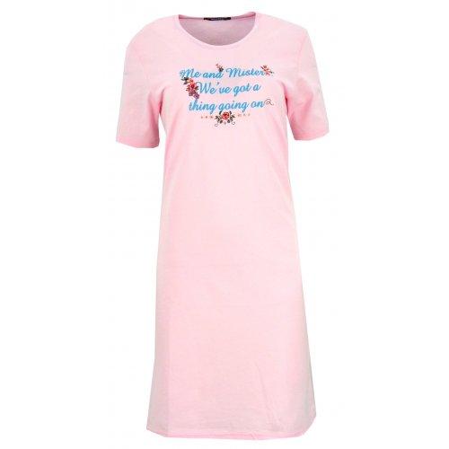 Koszula nocna z błyszczącymi napisami (jasnorożowa)