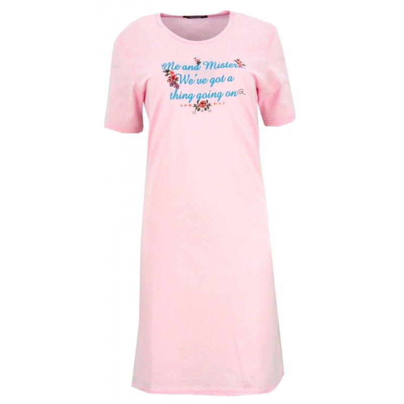 Koszula nocna z błyszczącymi napisami Jasno Rożowa Koszula Nocna Damska Koszula Damska z Bawełny