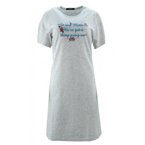 Koszula nocna z błyszczącymi napisami (szara)
