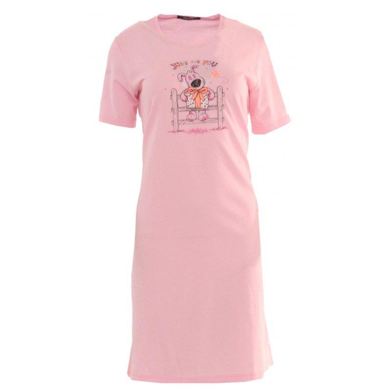 Koszula nocna z nadrukowanym pieskiem Jasno Różowa Koszula Nocna Damska Bawełniana Koszula Nocna Bielizna Nocna
