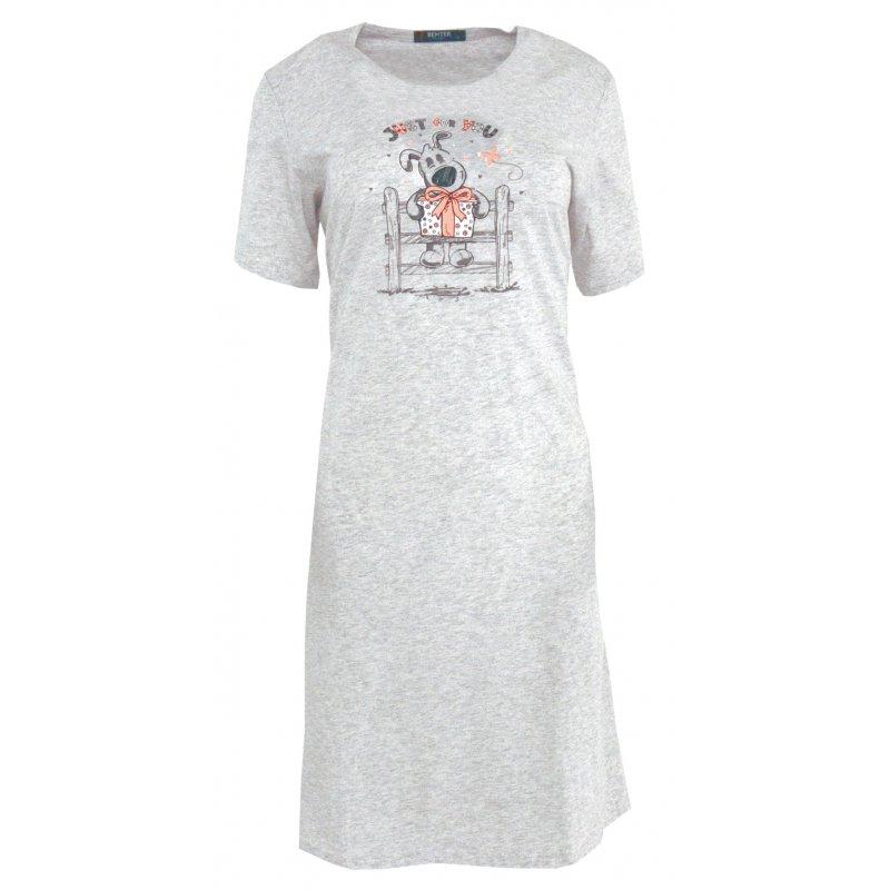 Koszula nocna z nadrukowanym pieskiem Szara Koszula Nocna Damska Długa Koszula Nocna Damska Koszula Nocna 100 Bawełna