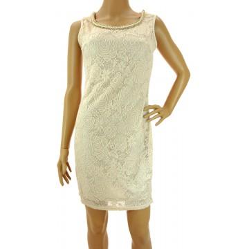 Sukienka z ozdobnym dekoltem (beżowa)