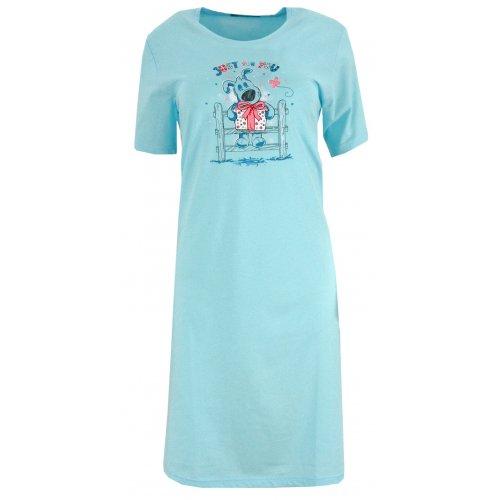 Koszule nocne damskie z nadrukowanym pieskiem (niebieska)
