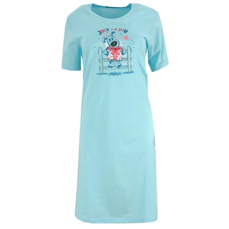 Koszule nocne damskie z nadrukowanym pieskiem Niebieska Koszula Nocna Damska Ekskluzywna Koszula Nocna Damska