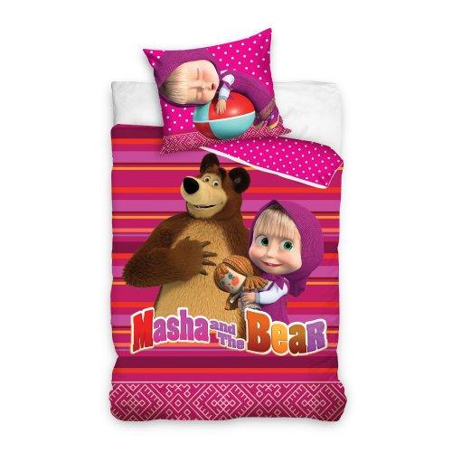 Pościel licencyjna dla dzieci 160x200 Masha i niedźwiedź MASHA