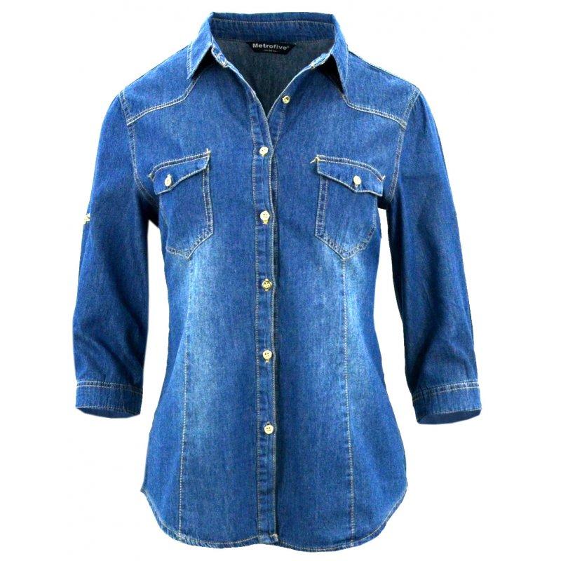 Koszula jeansowa damska stylizacje tania