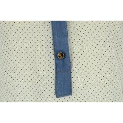 Bluzka szyfonowa z kołnierzykiem (jeans+ kropki biała)