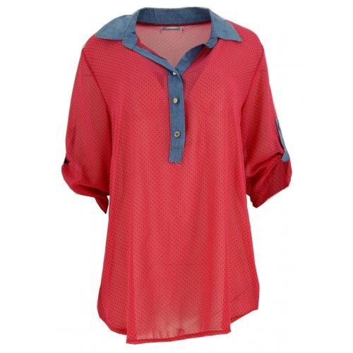 Bluzka szyfonowa z kołnierzykiem (jeans+ kropki koral)