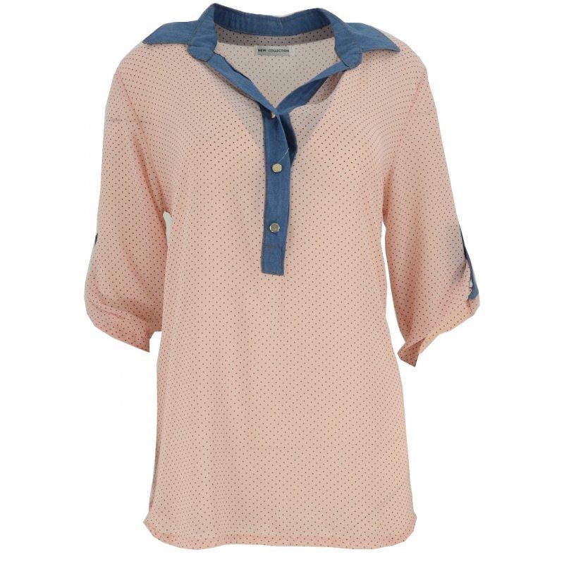 Bluzka szyfonowa z kołnierzykiem (jeans+ kropki róż)
