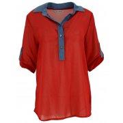 Bluzka szyfonowa z kołnierzykiem (jeans+ kropki czerwona)