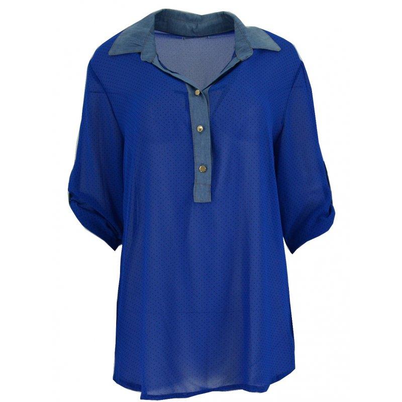 Bluzka szyfonowa z kołnierzykiem (jeans+ kropki chaber)